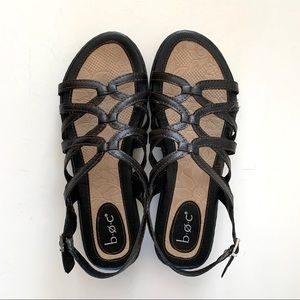 BOC Black Strappy Sandals, Sz 8